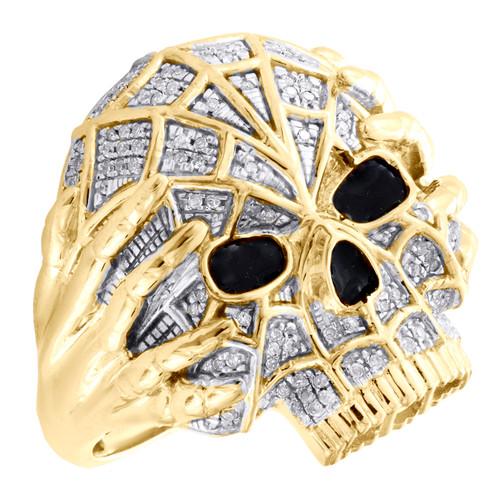 10K Yellow Gold Round Diamond Skull Head Statement Band 25mm Pink Ring 0.30 CT.