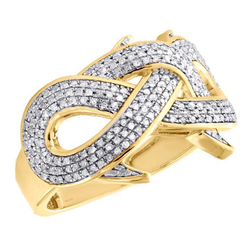10K Yellow Gold Round Diamond Infinity Spike Thorn Band 17mm Pinky Ring 0.52 CT.