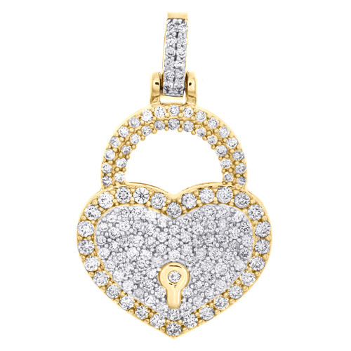 "10K Yellow Gold Round Diamond Heart & Lock Pendant 1.20"" Statement Charm 1.50 CT"