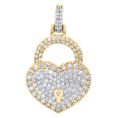 "10K Yellow Gold Round Diamond Heart & Lock Pendant 1.20"" Statement Charm 1.50 CT"