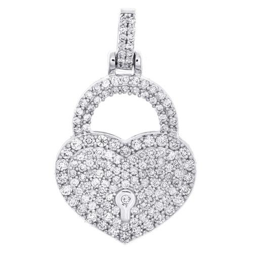 "10K White Gold Round Diamond Heart & Lock Pendant 1.20"" Statement Charm 1.50 CT."