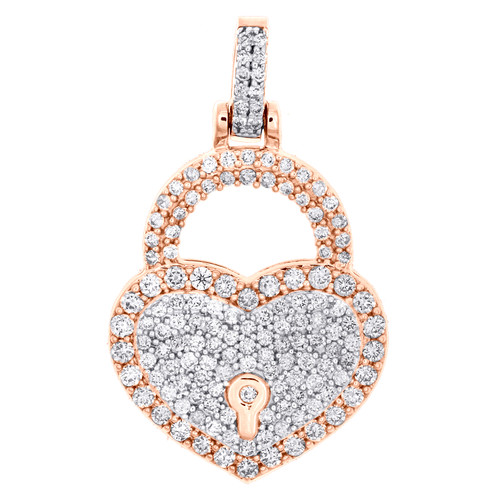 "10K Rose Gold Round Diamond Heart & Lock Pendant 1.20"" Statement Charm 1.50 CT."