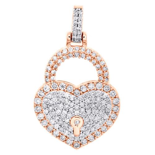 "10K Rose Gold Round Diamond Heart & Lock Pendant 1.20"" Statement Charm 1.50 CT."