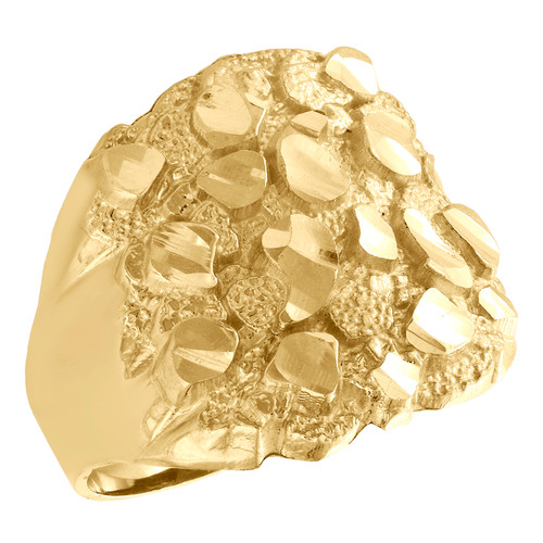 Real 10K Yellow Gold Mens Nugget Ore Pinky Ring Fancy Dome Wedding Band 21mm