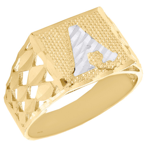 Real 10K Yellow Gold Diamond Cut Initial Letter A Statement Pinky Ring 11.50mm