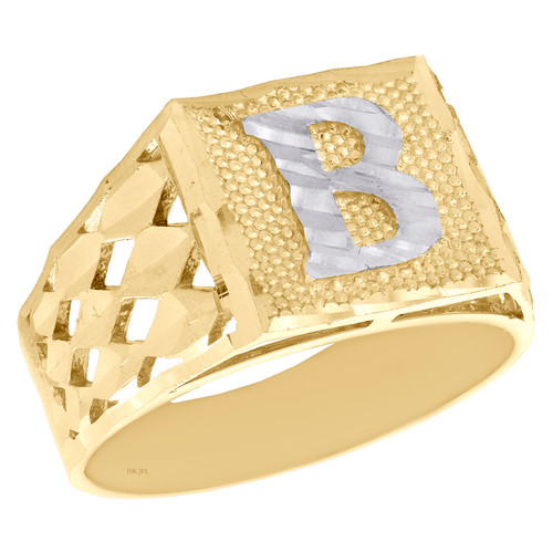 Real 10K Yellow Gold Diamond Cut Initial Letter B Statement Pinky Ring 11.50mm