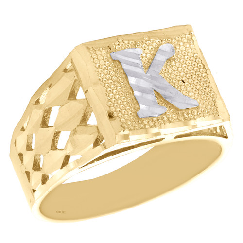 Real 10K Yellow Gold Diamond Cut Initial Letter K Statement Pinky Ring 11.50mm