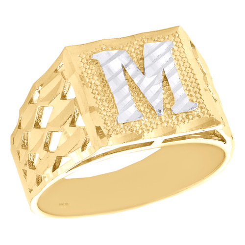 Real 10K Yellow Gold Diamond Cut Initial Letter M Statement Pinky Ring 11.50mm