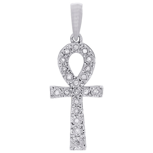 "10K White Gold Genuine Diamond Ankh Cross Pendant Prong Set 1.15"" Charm 0.10 CT"