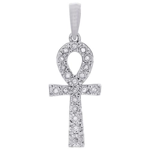 "10K White Gold Genuine Diamond Ankh Cross Pendant Prong Set 1.15"" Charm 0.10 CT"