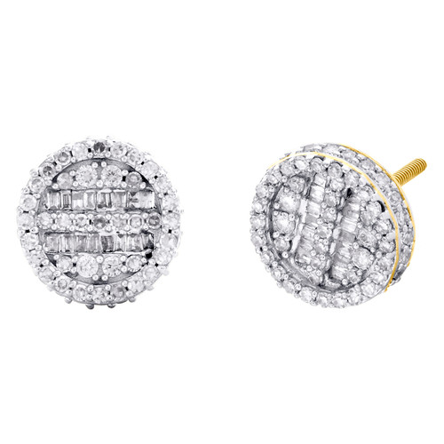10K Yellow Gold Round & Baguette Diamond 3D Circle Stud 10mm Earrings 3/4 CT.