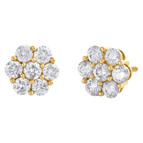 10K Yellow Gold Round Diamond Flower Cluster Stud 7.50mm Statement Earrings 1 CT
