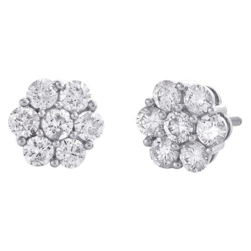 10K White Gold Round Diamond Flower Cluster Stud 7.50mm Statement Earrings 1 CT.