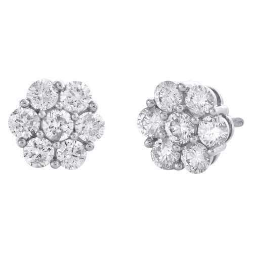 14K White Gold Round Diamond Flower Set Stud 8.50mm Cluster Earrings 1.50 CT.