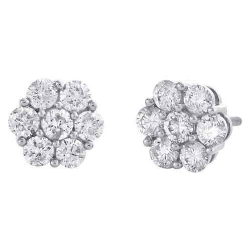 14K White Gold Round Diamond Flower Set Stud 8.50mm Cluster Earrings 1.50 CT.