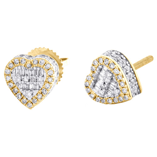 10K Yellow Gold Round & Baguette Diamond 3D Heart Stud 7.50mm Earrings 3/8 CT.