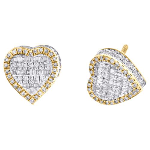 10K Yellow Gold Round & Baguette Diamond 3D Heart Stud 7.50mm Earrings 5/8 CT.