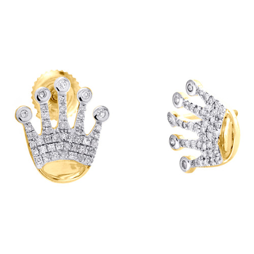10K Yellow Gold Round Diamond Crown King Cluster Stud 13mm Pave Earrings 1/4 CT.