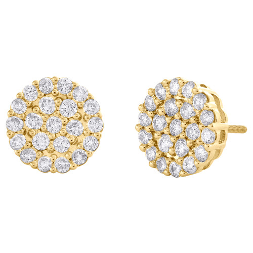 10K Yellow Gold Round Diamond Circle Cluster Stud 11.50mm Halo Earrings 1.37 CT