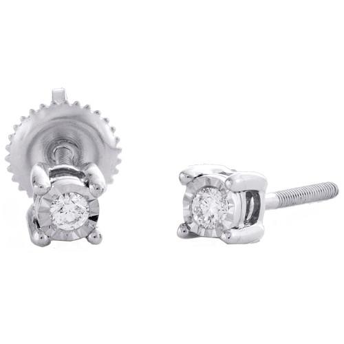 10K White Gold Round Diamond Miracle Set Stud 4mm Circle Frame Earrings 1/10 CT.