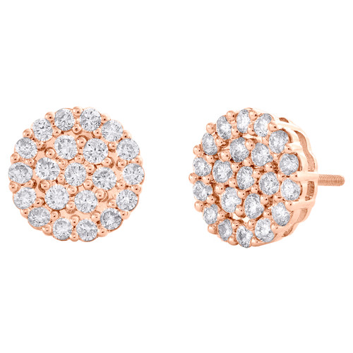 10K Rose Gold Round Diamond Circle Cluster Stud 11.50mm Halo Earrings 1.37 CT.