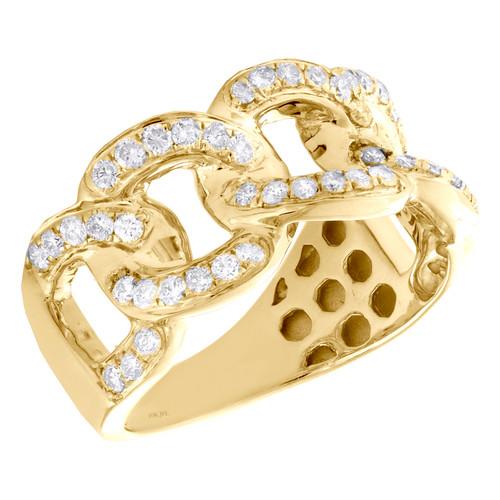 10K Yellow Gold Round Diamond Miami Cuban Pinky Ring 12mm Statement Band 1 CT.