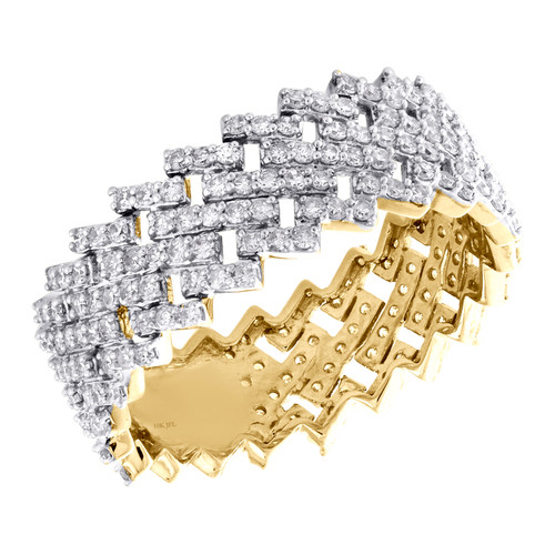 10K Yellow Gold Round Diamond Eternity Band 9mm Prong Set Statement Ring 1.62 CT
