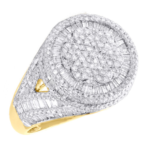 10K Yellow Gold Round & Baguette Diamond Pinky Ring 18mm Statement Band 3.75 CT.