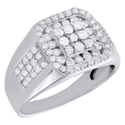 14K Yellow Gold Round Diamond Square Halo Pinky Ring 13mm Wedding Band 1.25 CT.