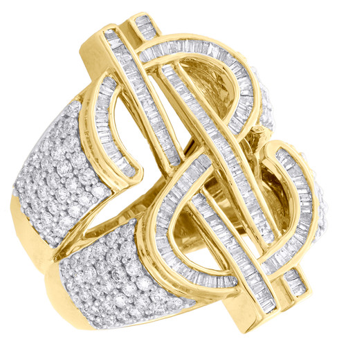 10K Yellow Gold Round Baguette Diamond Money Dollar Sign 31mm Pinky Ring 3.75 CT