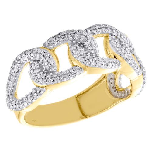 10K Yellow Gold Round Diamond Miami Cuban Wedding Band 10mm Pave Ring 5/8 CT.
