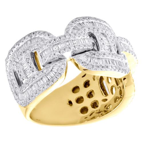 10K Yellow Gold Round & Baguette Diamond Puff Gucci Cuban Band 13mm Ring 1.50 CT