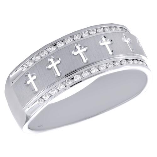 14K White Gold Round Diamond Fancy Religious Cross Wedding Band 8mm Ring 1/4 CT.