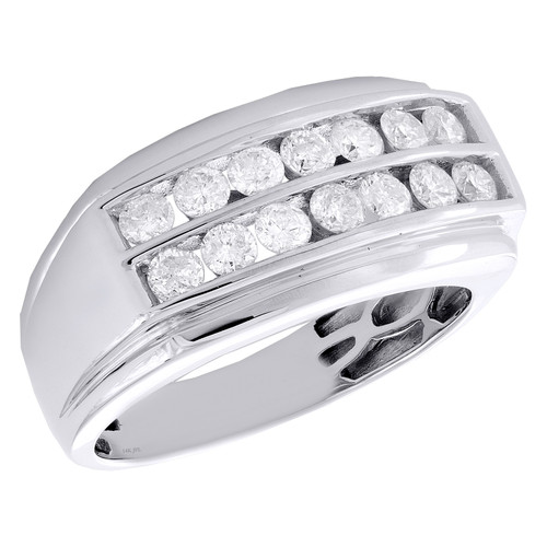 14K White Gold Round Diamond Double Row Channel Set Wedding Band 11mm Ring 1 CT.