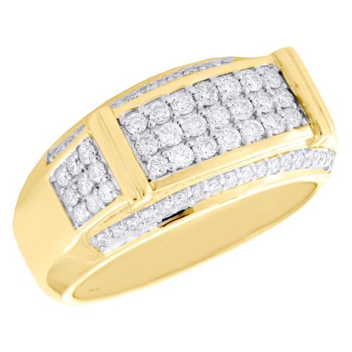 10K Yellow Gold Round Diamond Statement Tier Wedding Band 11mm Pave Ring 1 CT.