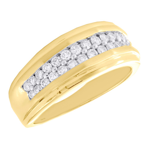 10K Yellow Gold Round Diamond Double Row Wedding Band 10mm Pave Ring 3/4 CT.