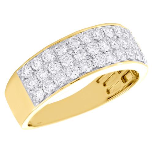 14K Yellow Gold Round Diamond 3 Row Statement Wedding Band 8mm Pave Ring 1.37 CT