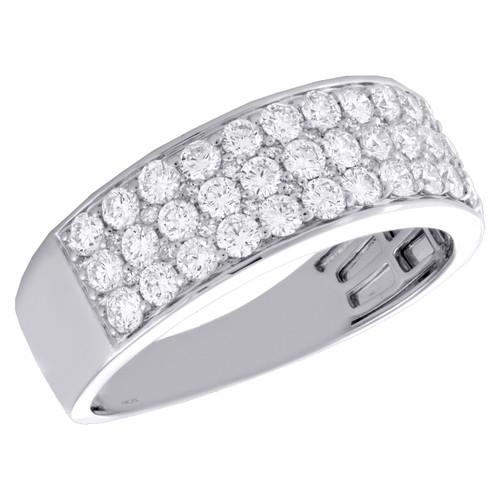 14K White Gold Round Diamond 3 Row Statement Wedding Band 8mm Pave Ring 1.37 CT.