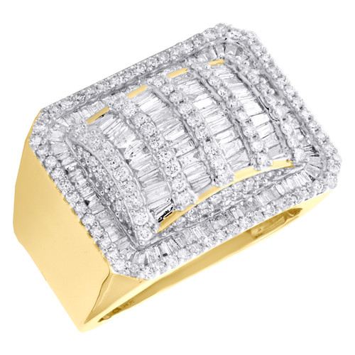 10K Yellow Gold Round & Baguette Diamond Statement Pinky Ring 18mm Band 2.25 CT.