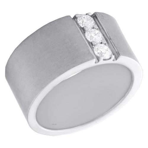 14K White Gold Round Diamond 3 Stone Matte Wedding Band 11mm Wide Ring 1/2 CT.