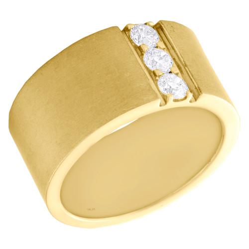14K Yellow Gold Round Diamond 3 Stone Matte Wedding Band 11mm Wide Ring 1/2 CT.
