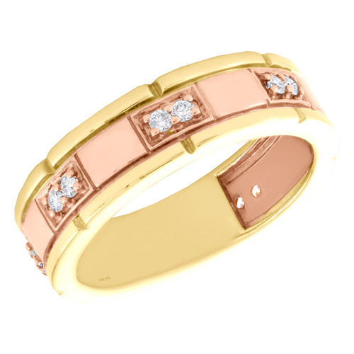 14K Yellow & Rose Gold Round Diamond 2 Stone Wedding Band 6.75mm Ring 1/4 CT.