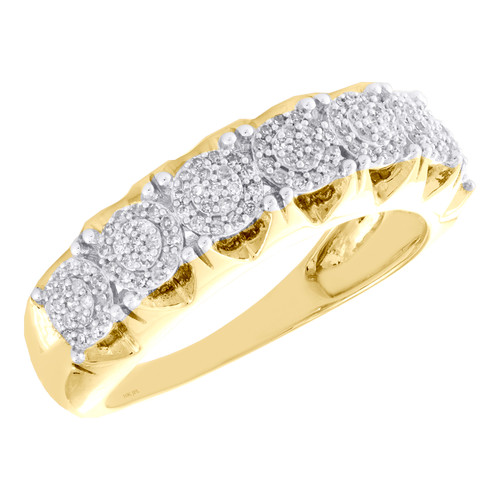 10K Yellow Gold Round Diamond 4 Prong Wedding Band 7.25mm Cluster Ring 1/3 CT.