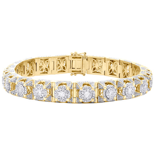 10K Yellow Gold Round Diamond 11mm Statement Cluster Link 11mm Braeclet 10.75 CT