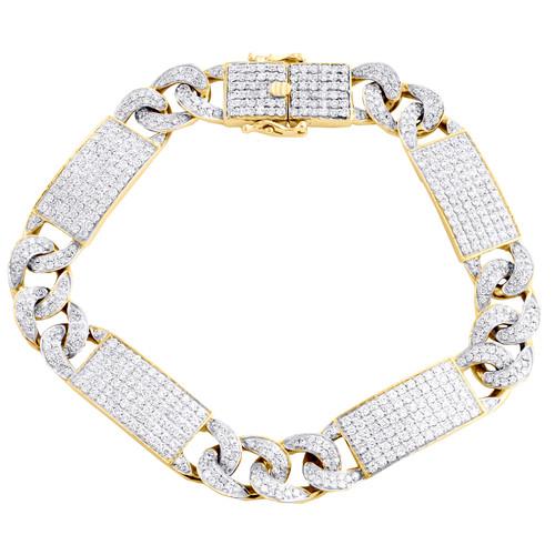 "10K Yellow Gold Round Diamond 12mm Miami Cuban Link 8.50"" Pave Bracelet 9.50 CT."