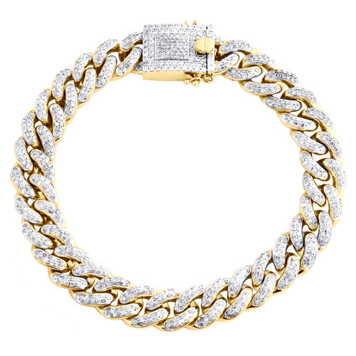 "10K Yellow Gold Round Diamond 12mm Miami Cuban Link 9.50"" Pave Bracelet 6.62 CT."