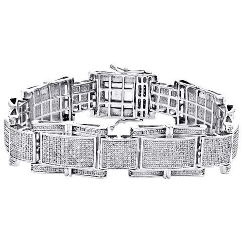"10K White Round Diamond 17mm Domed Statement Link 8.50"" Pave Bracelet 3.75 CT."