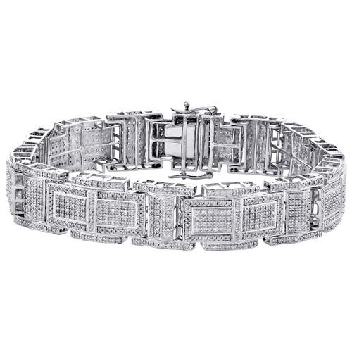 "10K White Gold Round Diamond 15mm Statement Link 8.50"" Pave Bracelet 3.50 CT."