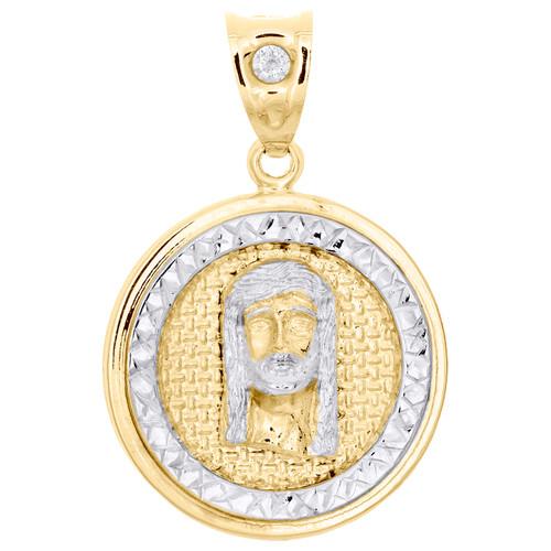 "10K Yellow Gold Two Tone Diamond Cut Jesus Face Medallion Pendant 1.40"" Charm"