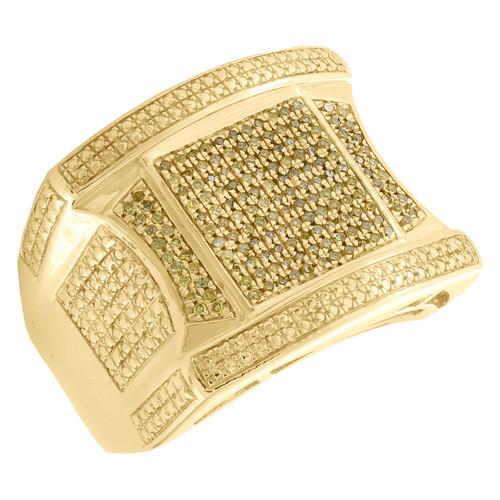10K Yellow Gold Round Canary Yellow Diamond Statement 19mm Pinky Ring  0.44 CT.